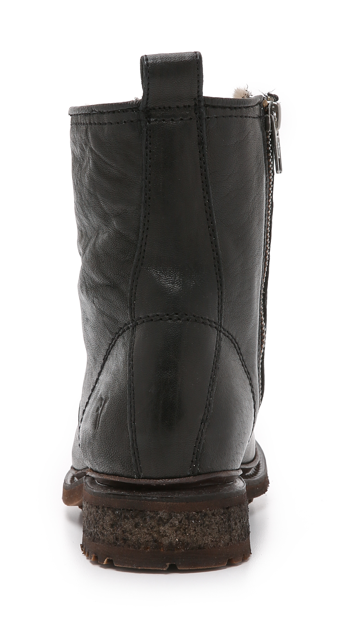 Frye Leather Valerie Lace Up Booties in Black