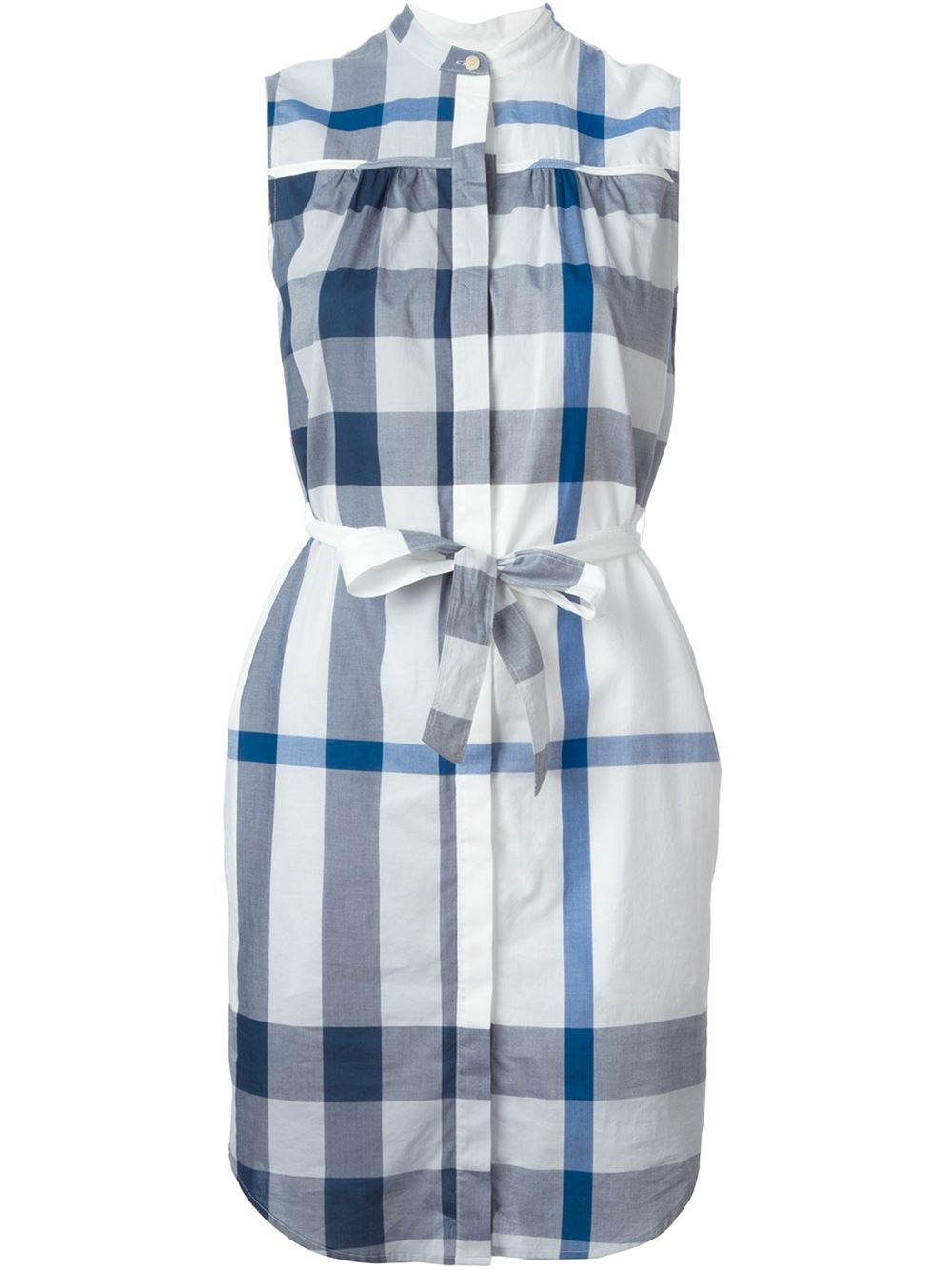Burberry brit check print shirt dress in blue lyst for Blue check dress shirt