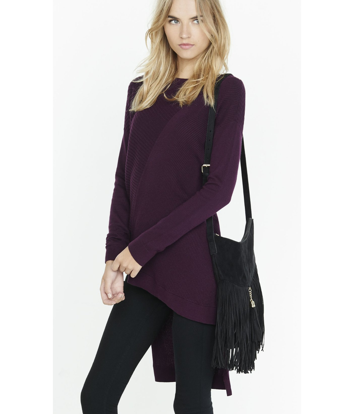 Express Ribbed Asymmetrical Hi-lo Hem Tunic Sweater in Purple | Lyst