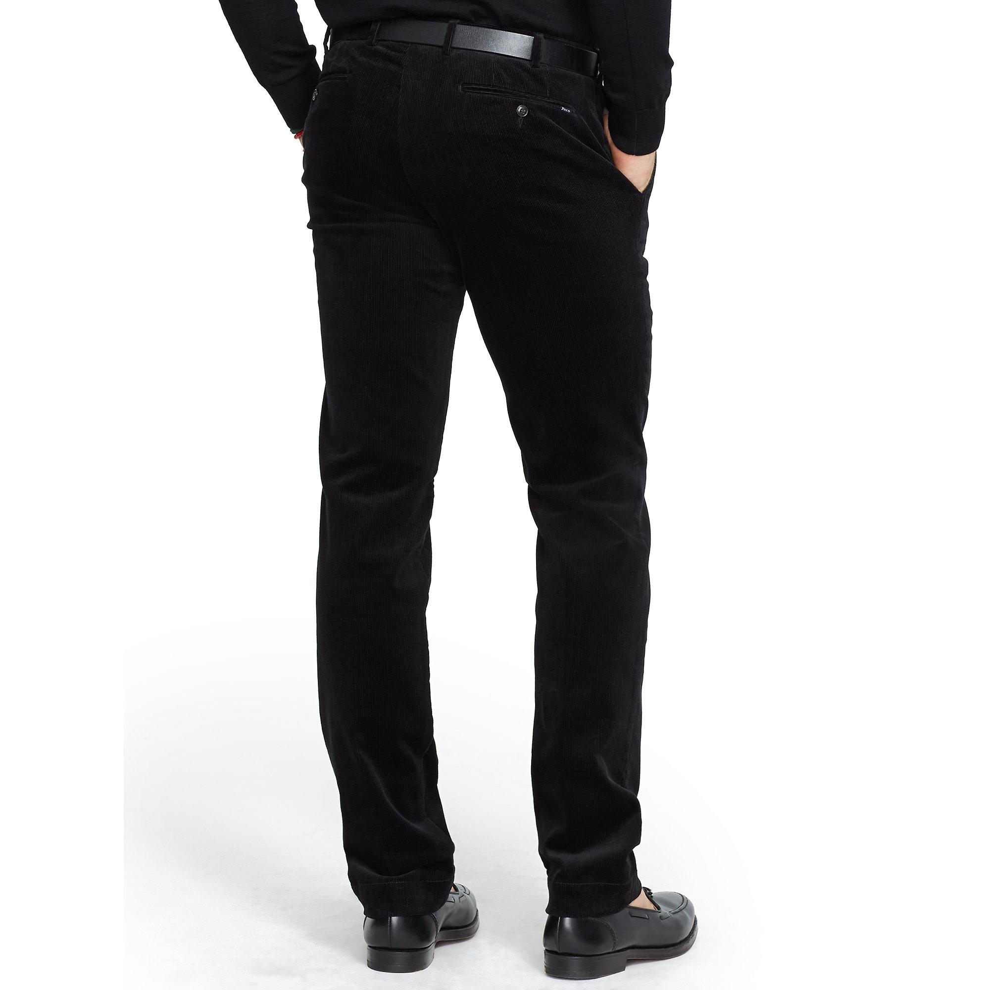ralph lauren slim fit hudson pant in black for men polo. Black Bedroom Furniture Sets. Home Design Ideas