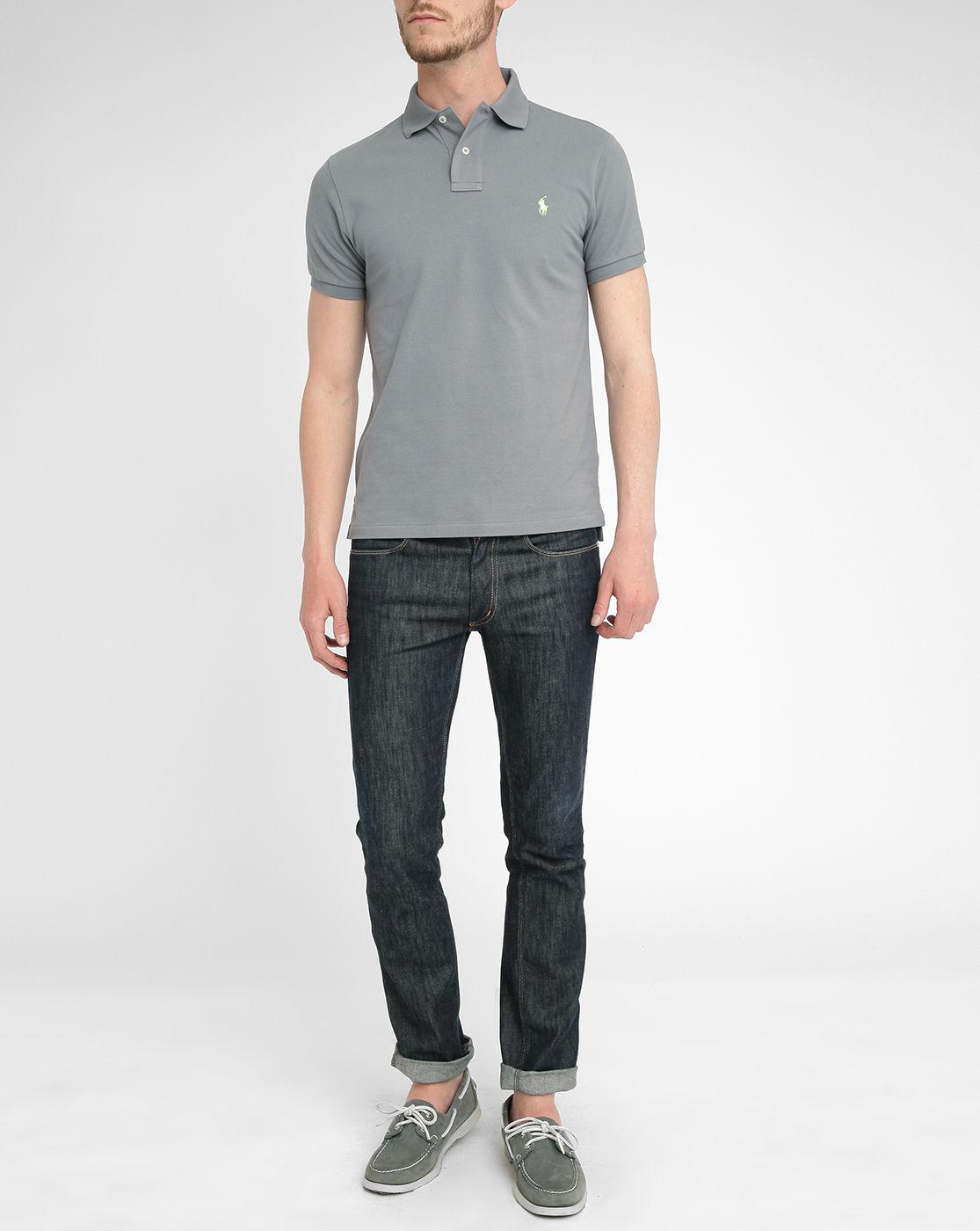 polo ralph lauren grey slim fit polo shirt in blue for men. Black Bedroom Furniture Sets. Home Design Ideas