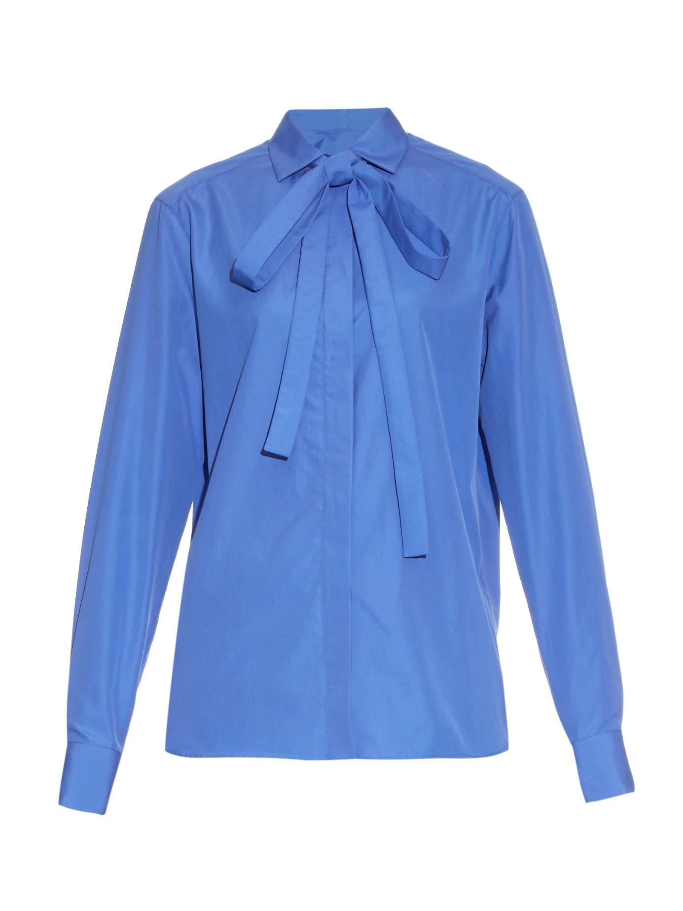 Lyst valentino long sleeved cotton poplin shirt in blue for Long sleeve poplin shirt