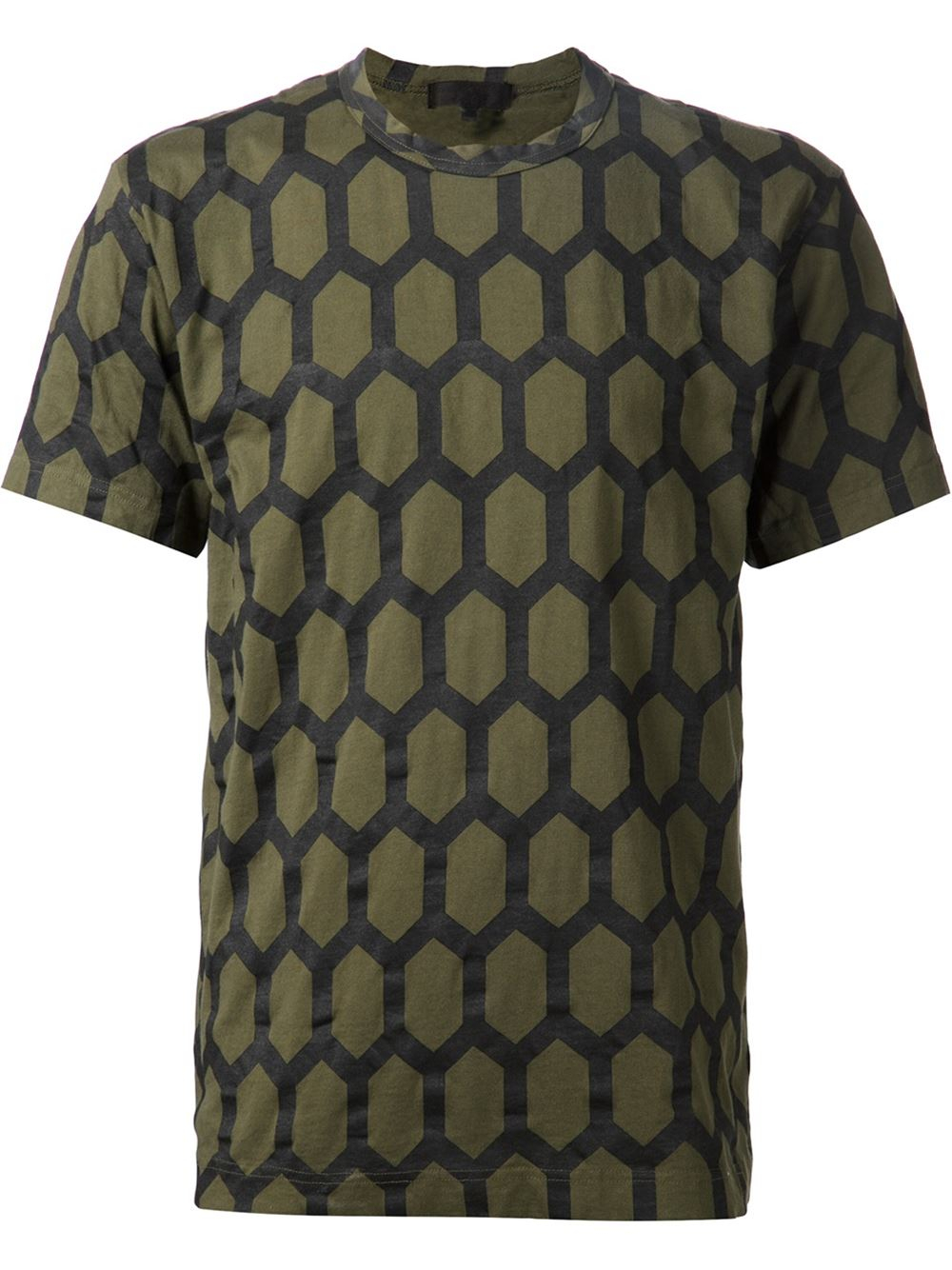 lyst comme des gar ons honeycomb print t shirt in green. Black Bedroom Furniture Sets. Home Design Ideas