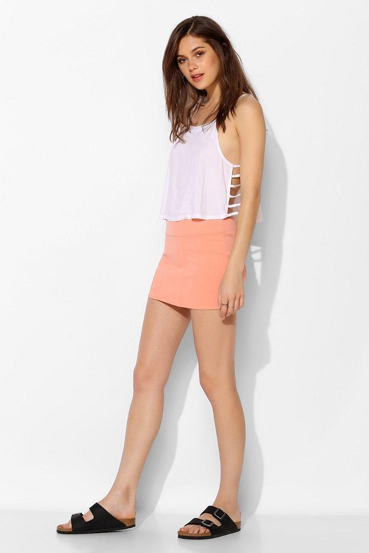 Silence   noise Knit Bodycon Mini Skirt in Orange | Lyst