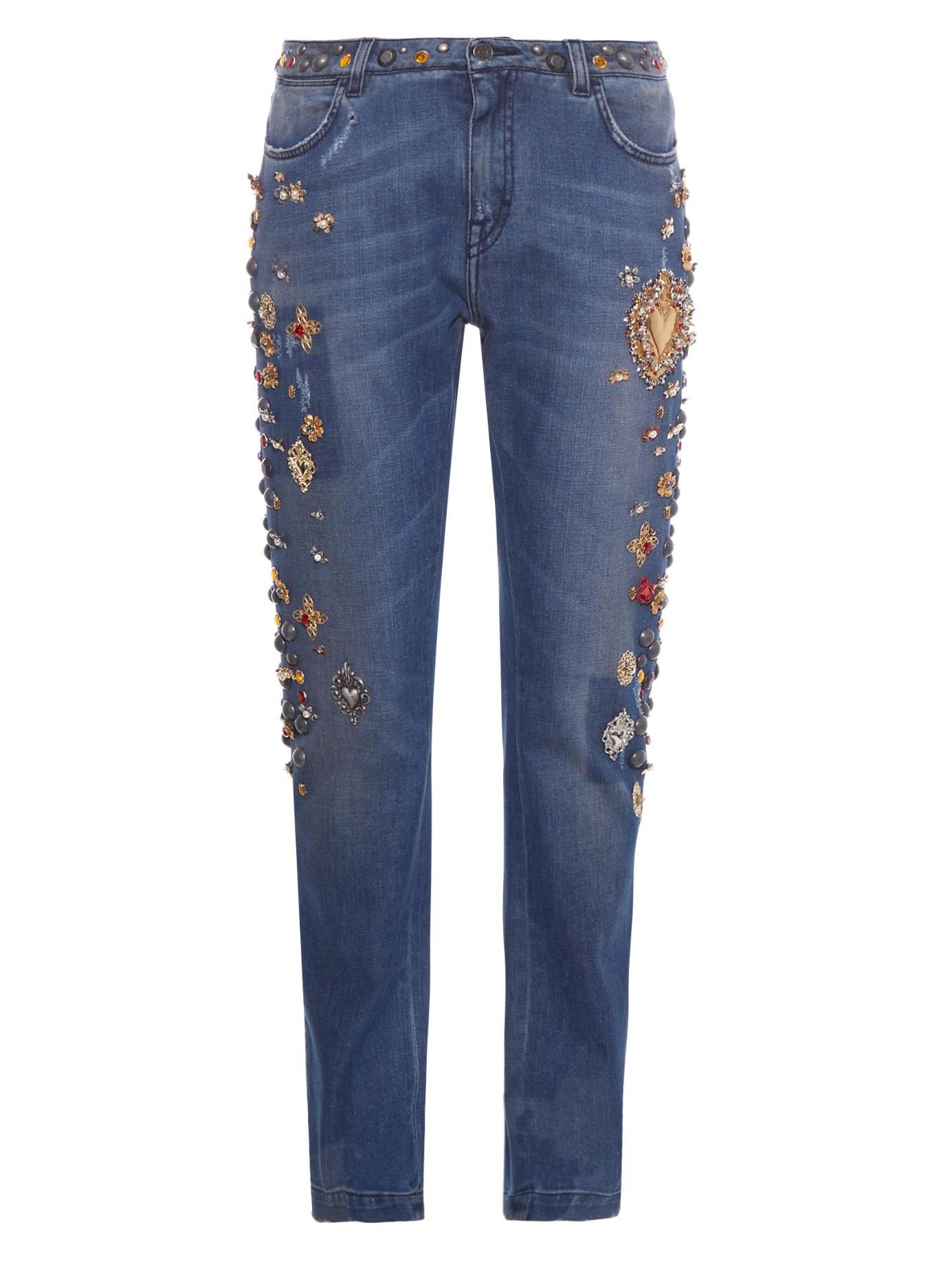lyst dolce gabbana embellished boyfriend jeans in blue. Black Bedroom Furniture Sets. Home Design Ideas