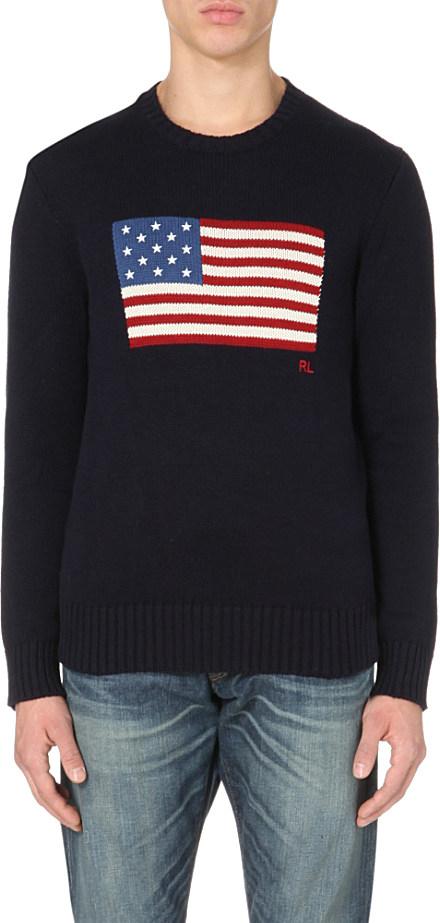 1ff372243a35 Ralph Lauren American Flag Cotton Jumper in Blue for Men - Lyst