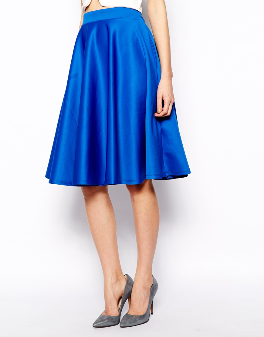 asos midi skirt in scuba with pockets in blue