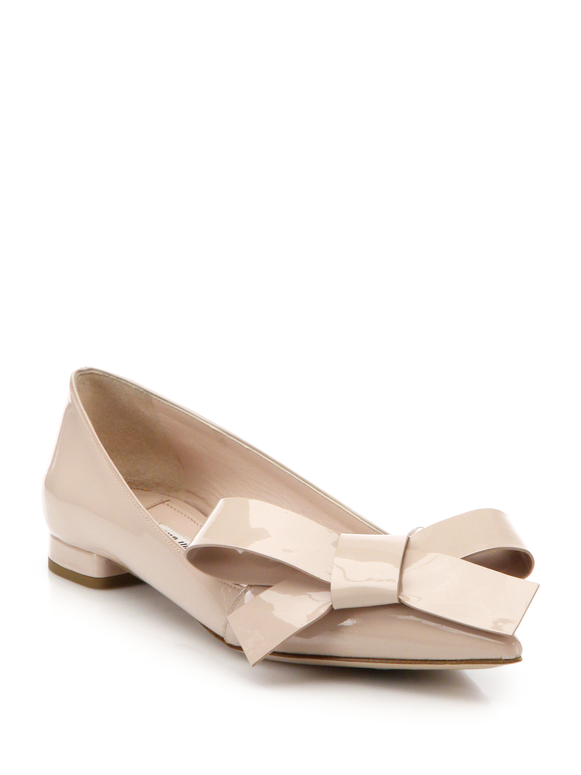 02307ac7681 Lyst - Miu Miu Bow-Detailed Patent-Leather Flats in Pink