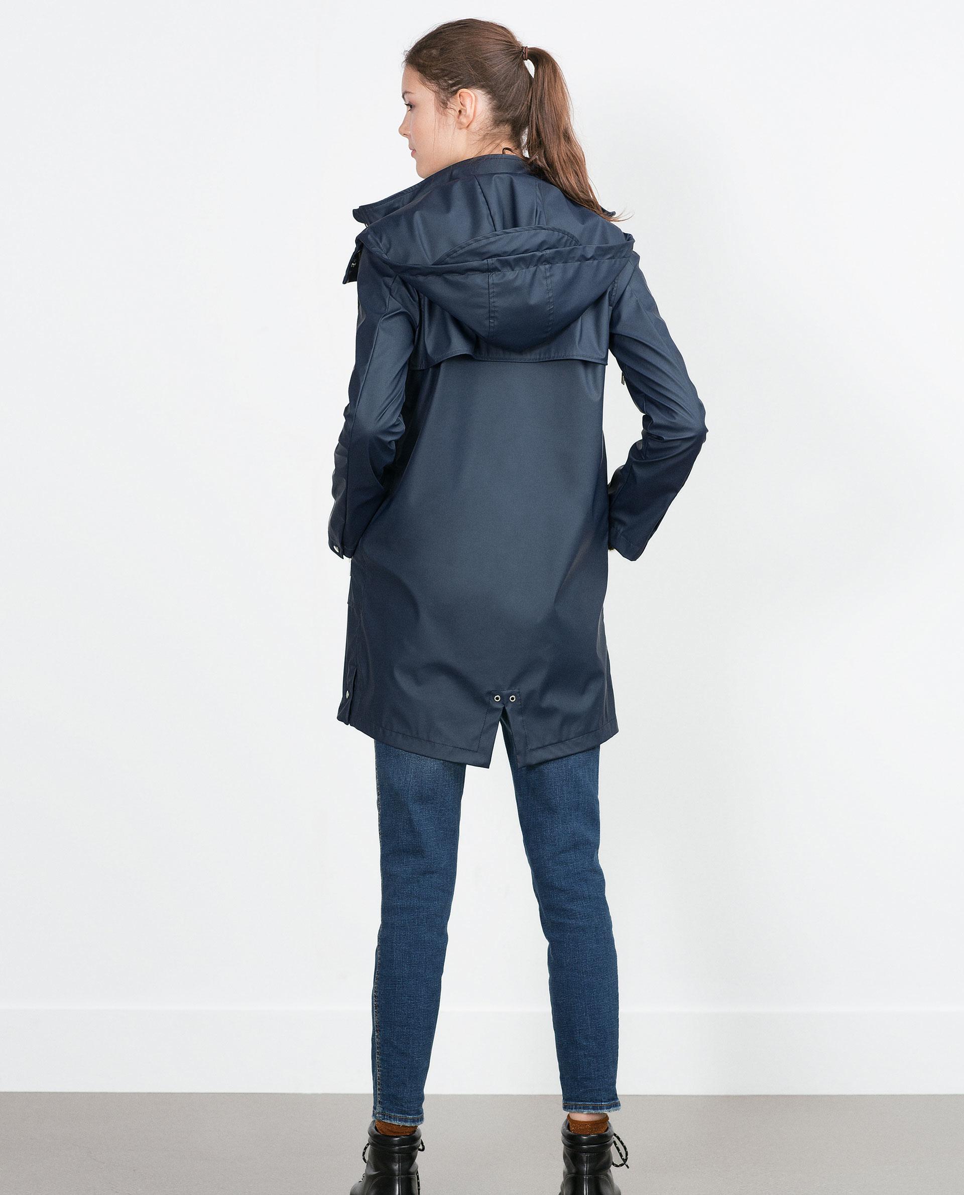 Zara Navy Raincoat in Blue | Lyst