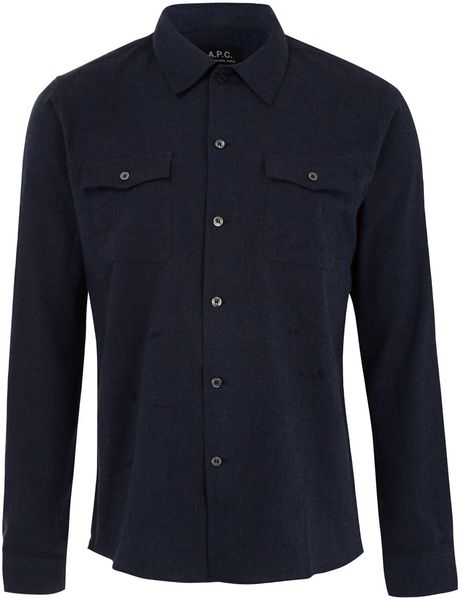 a p c navy cotton flannel shirt in blue for men navy lyst
