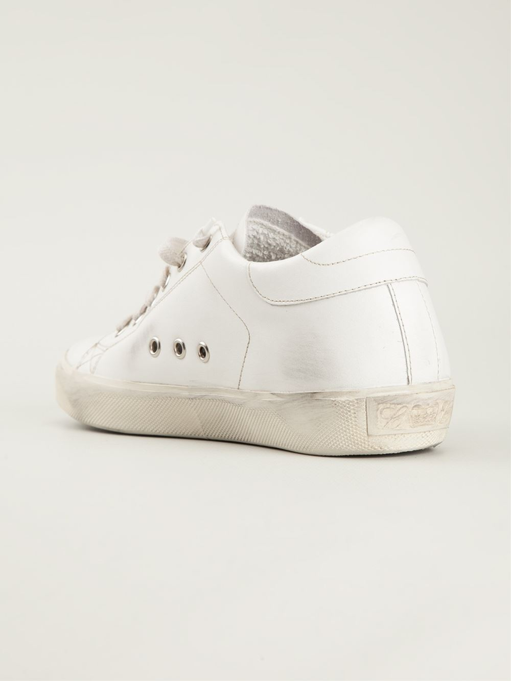 Leather Crown Distressed Sneakers in White