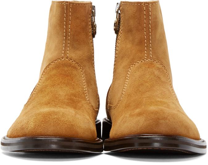 Carven Cognac Suede Boots In Brown For Men Lyst