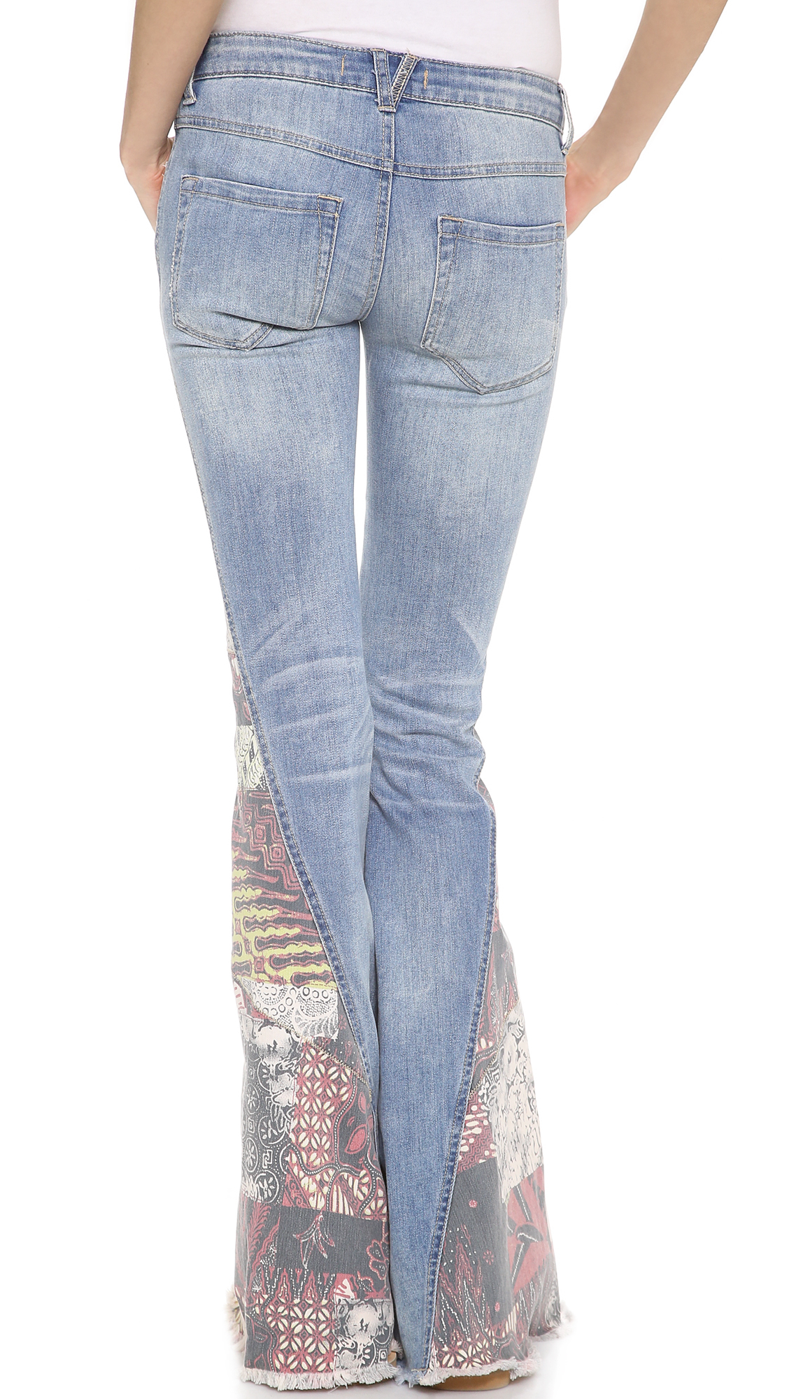 Lyst Free People Patchwork Bali Flare Bottoms In Blue