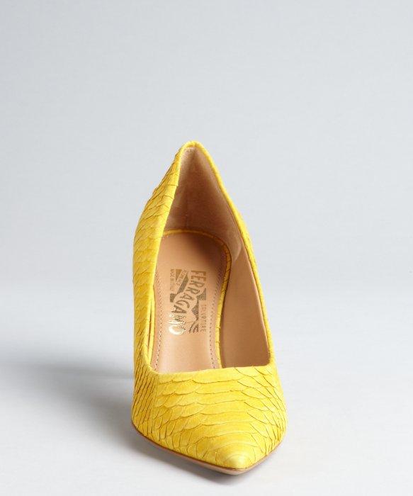 Ferragamo Canary Yellow Sueded Ayers Snakeskin Kitten Heels in