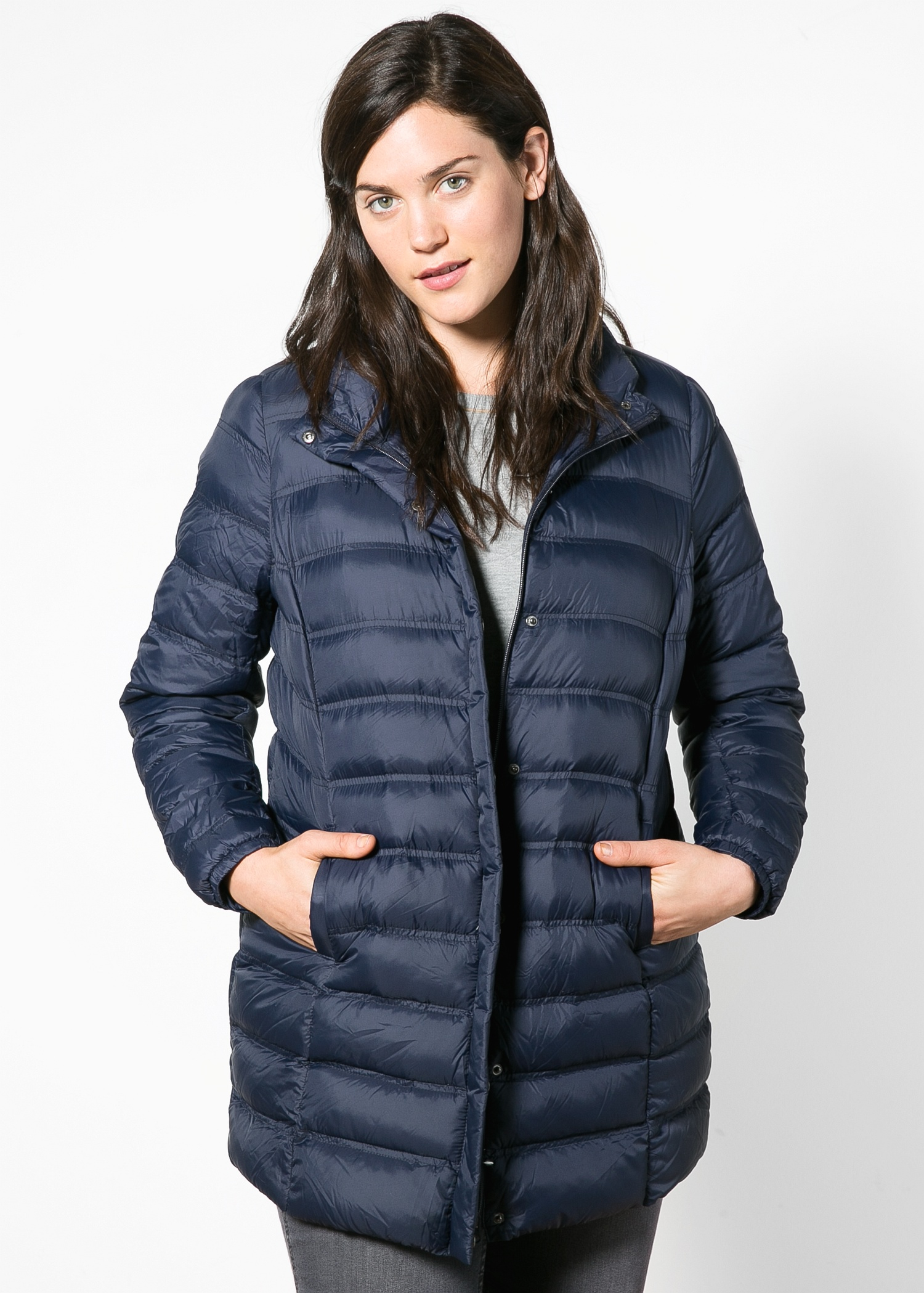 Violeta by mango Ultra-Light Feather-Down Coat in Blue | Lyst