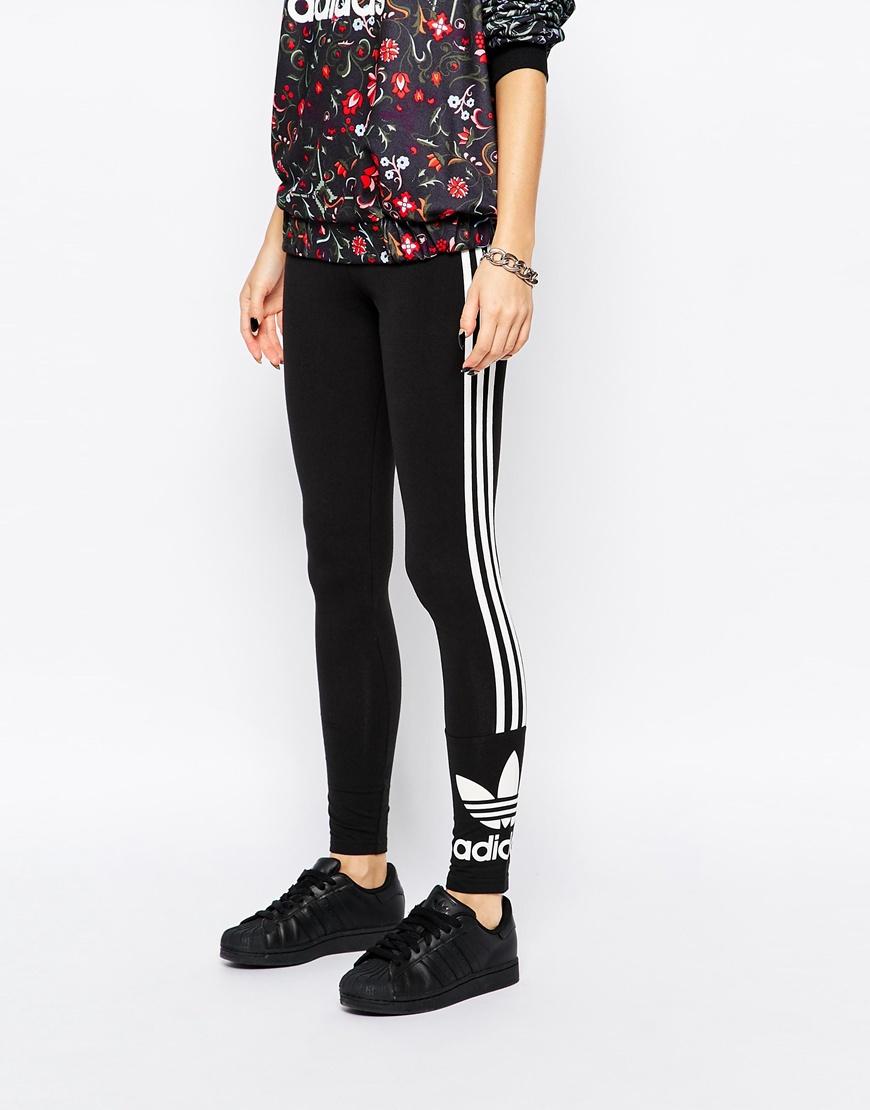 lyst adidas originals 3 stripe leggings in black. Black Bedroom Furniture Sets. Home Design Ideas