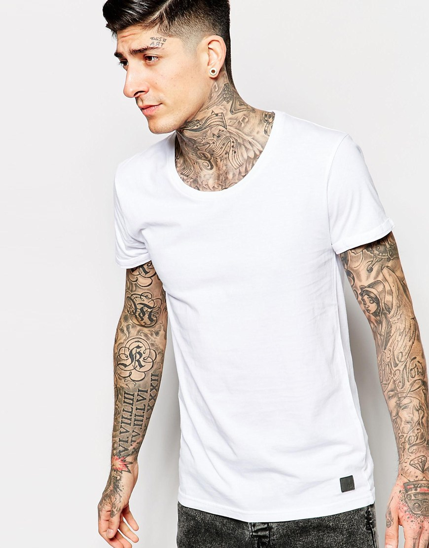 Minimum T Shirt With Scoop Neck In White For Men Lyst