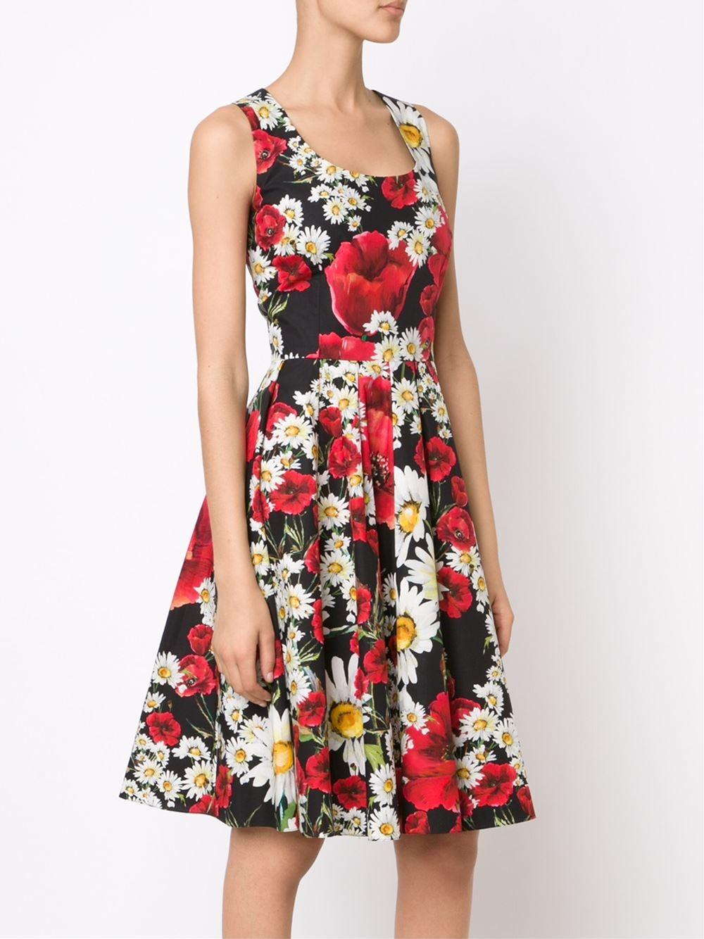Lyst Dolce Amp Gabbana Floral Print Dress