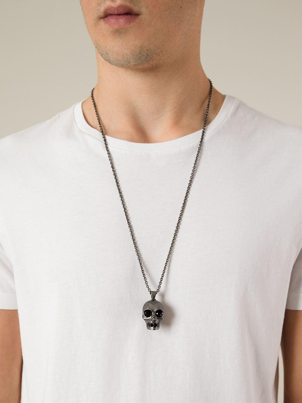 82ed96a481a62 Alexander McQueen Metallic Skull Pendant Necklace for men