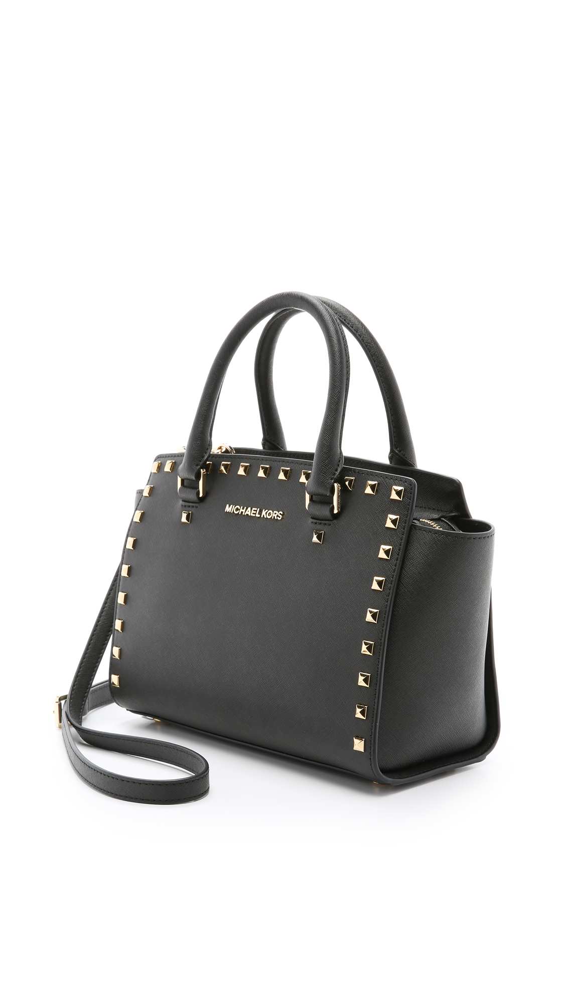669913207261 ... where can i buy michael michael kors selma stud medium top zip satchel  in black lyst