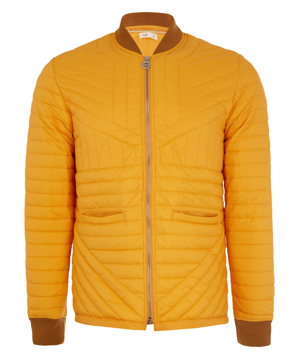 Folk Yellow Cave Quilted Jacket in Orange for Men