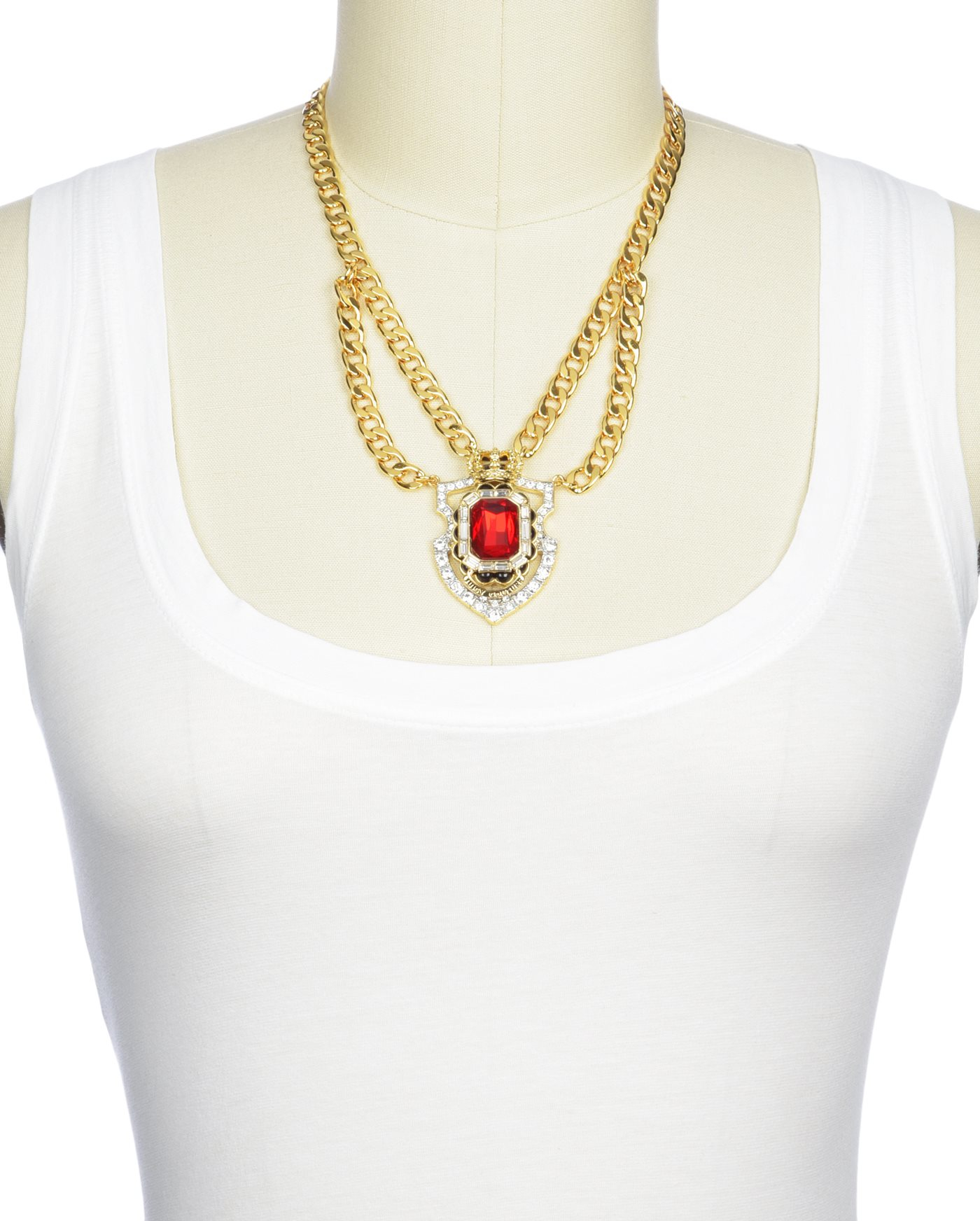 Juicy couture heirloom shield statement necklace in for Juicy couture jewelry necklace