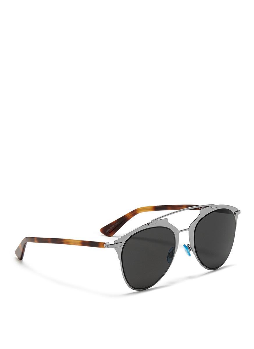 Uv Protection Metallic Cat Eye Sunglasses Double Black
