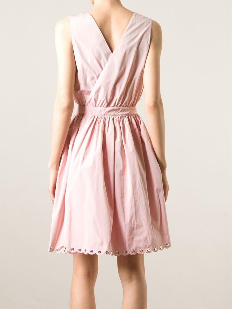 Red Valentino Belted Eyelet Embellished Dress In Pink Lyst