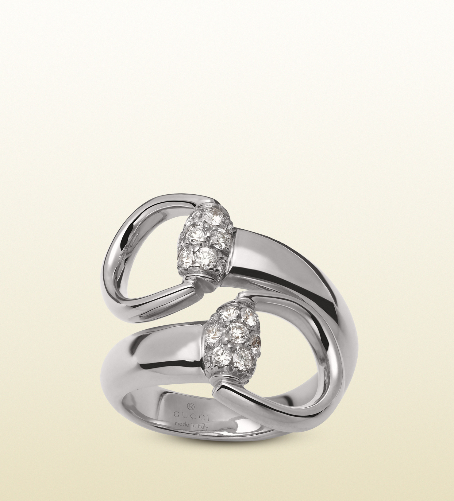 Gucci White Gold Horsebit Ring With Diamonds In White Lyst