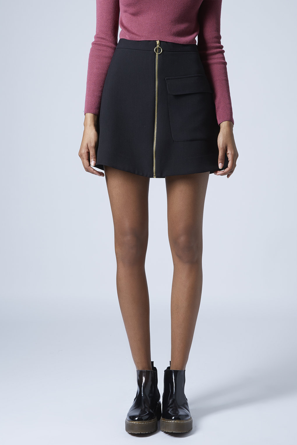 topshop patch pocket a line skirt in black lyst