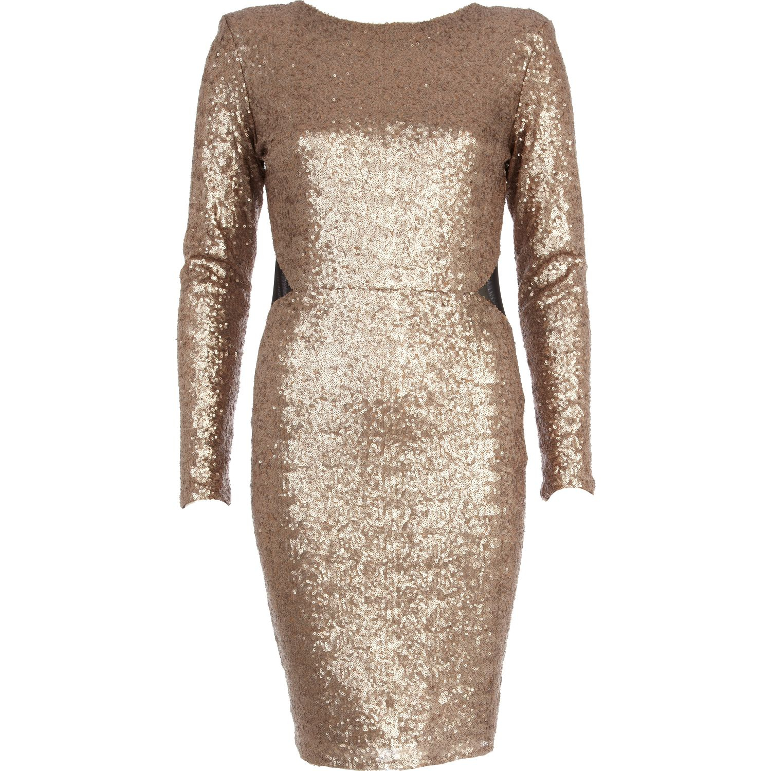 c90d9005 Black And Gold Sequin Dress River Island