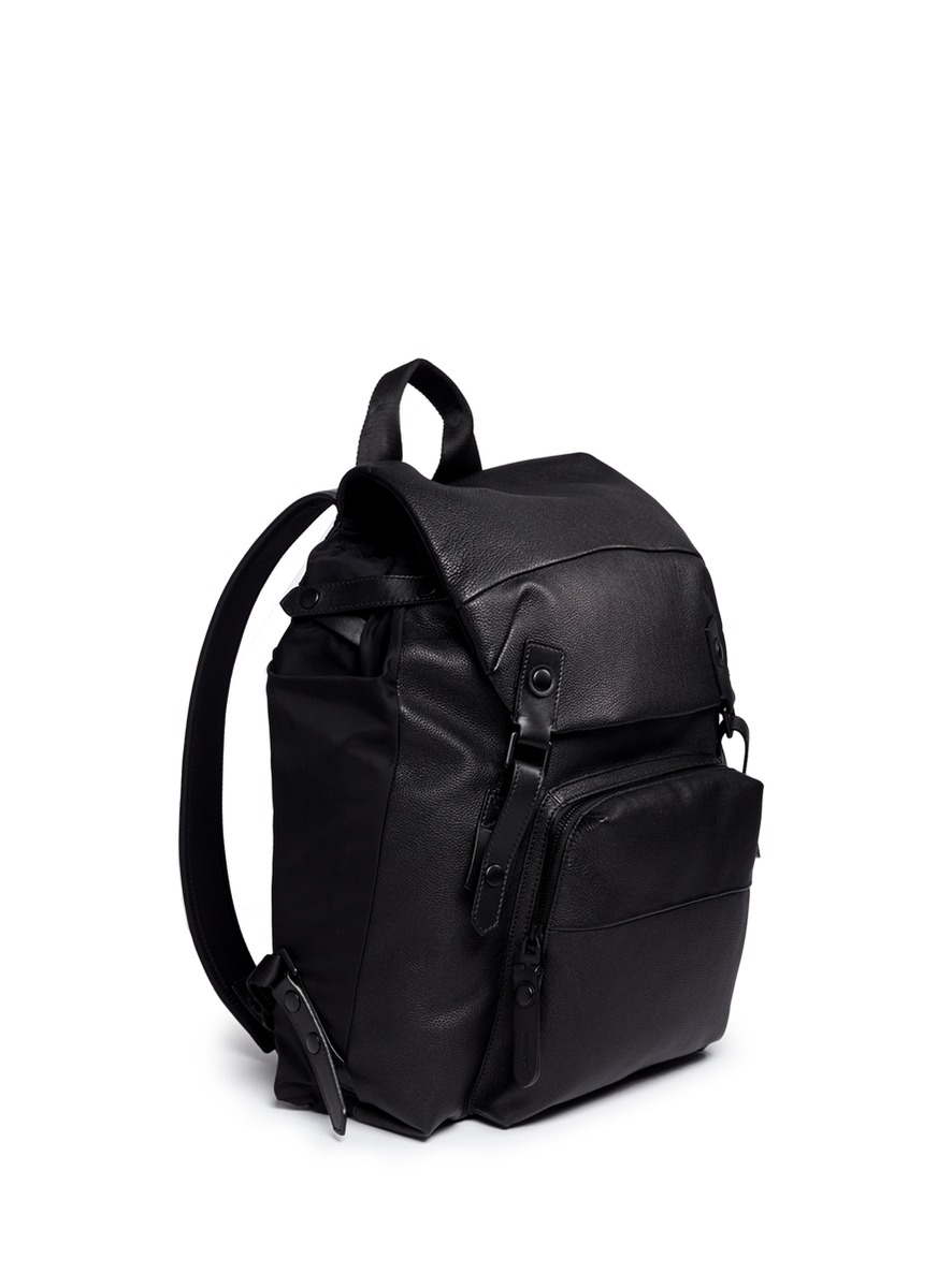 Lyst - Lanvin Double Buckle Leather Backpack in Black for Men