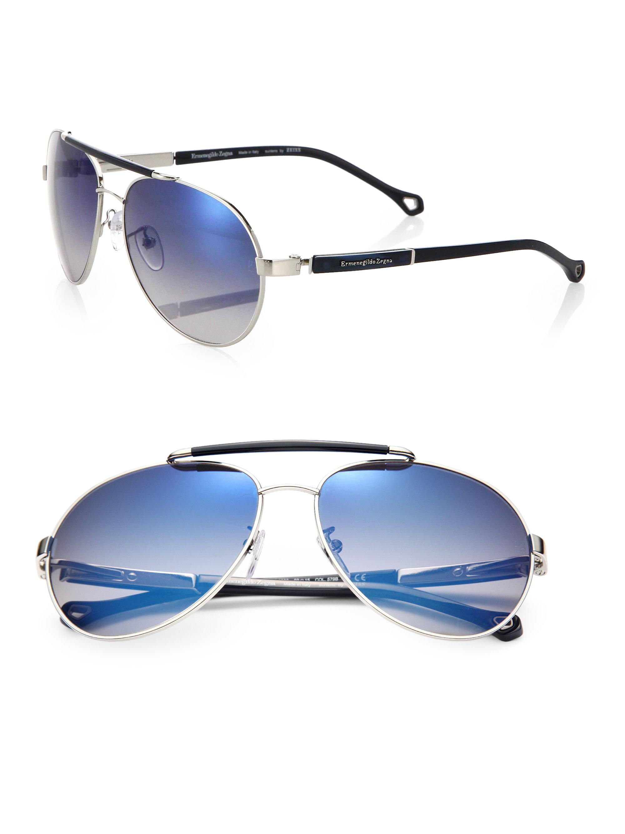 7c1854bc Ermenegildo Zegna Blue Metal & Resin Aviator Sunglasses for men