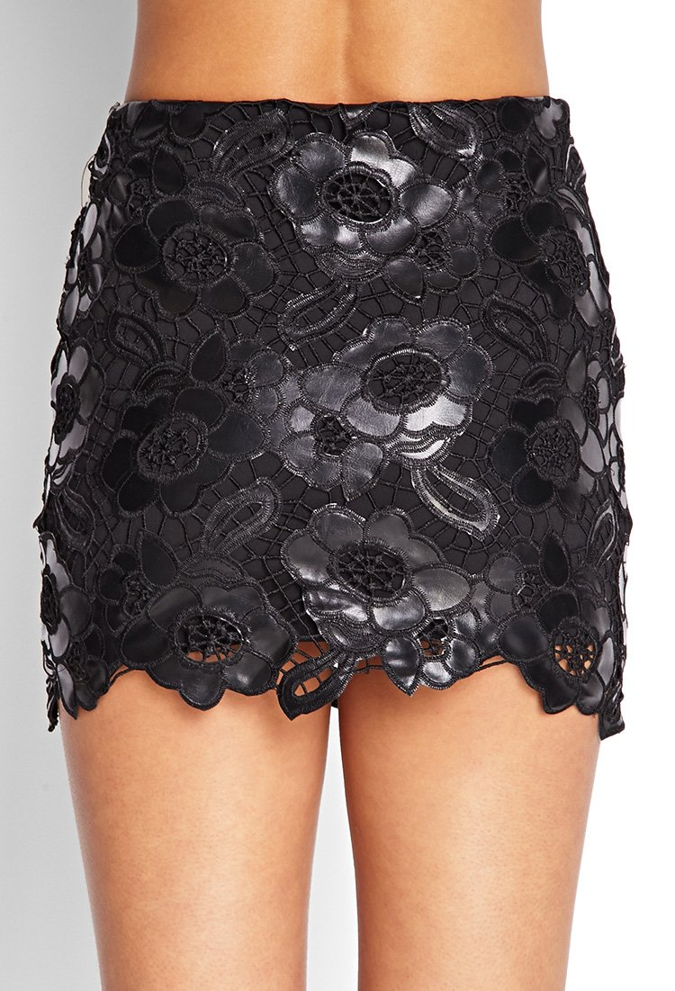 forever 21 floral lace faux leather skirt in black lyst