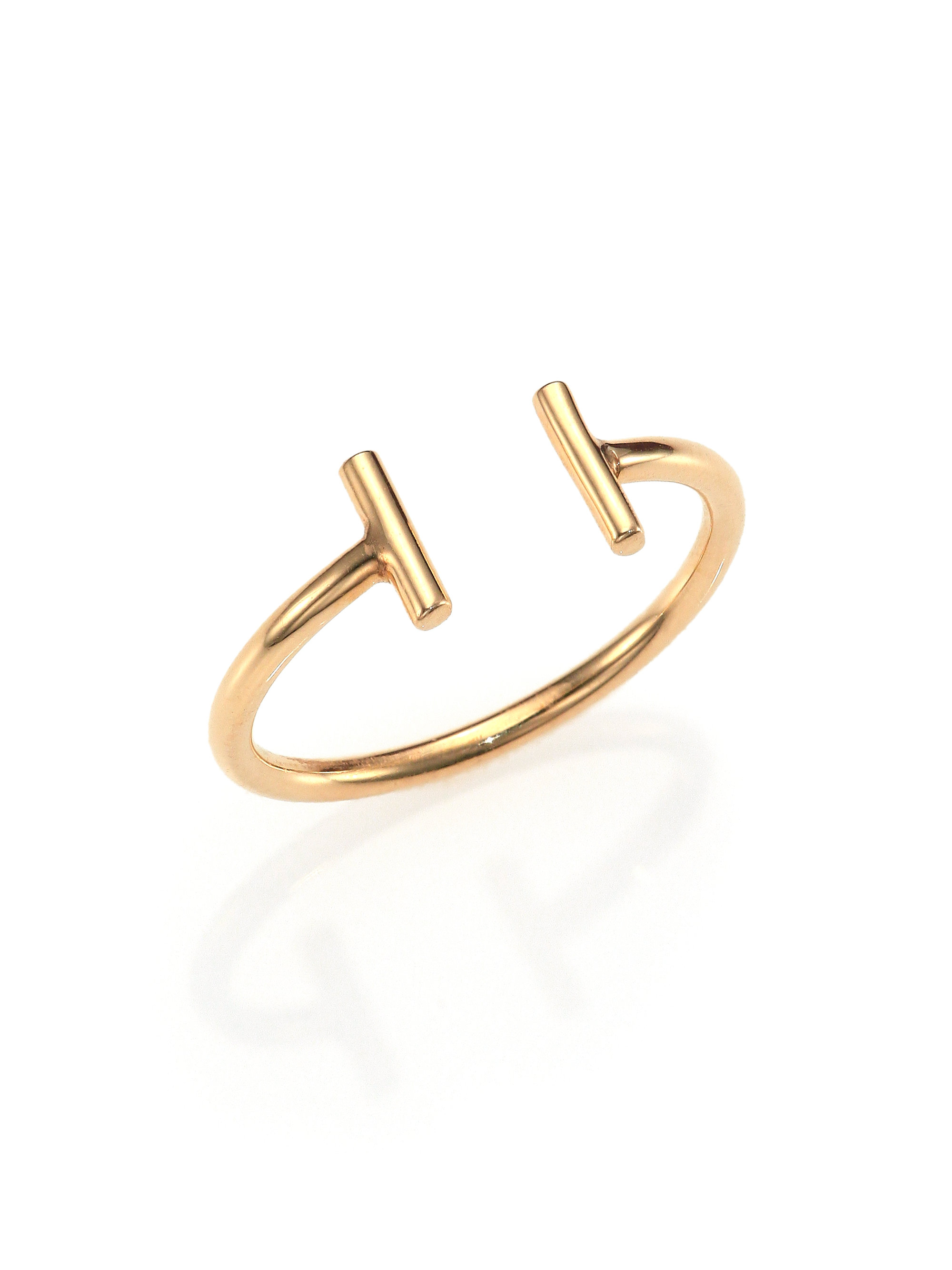 Ginette Ny 18k Rose Gold Strip Open Ring In Metallic Lyst