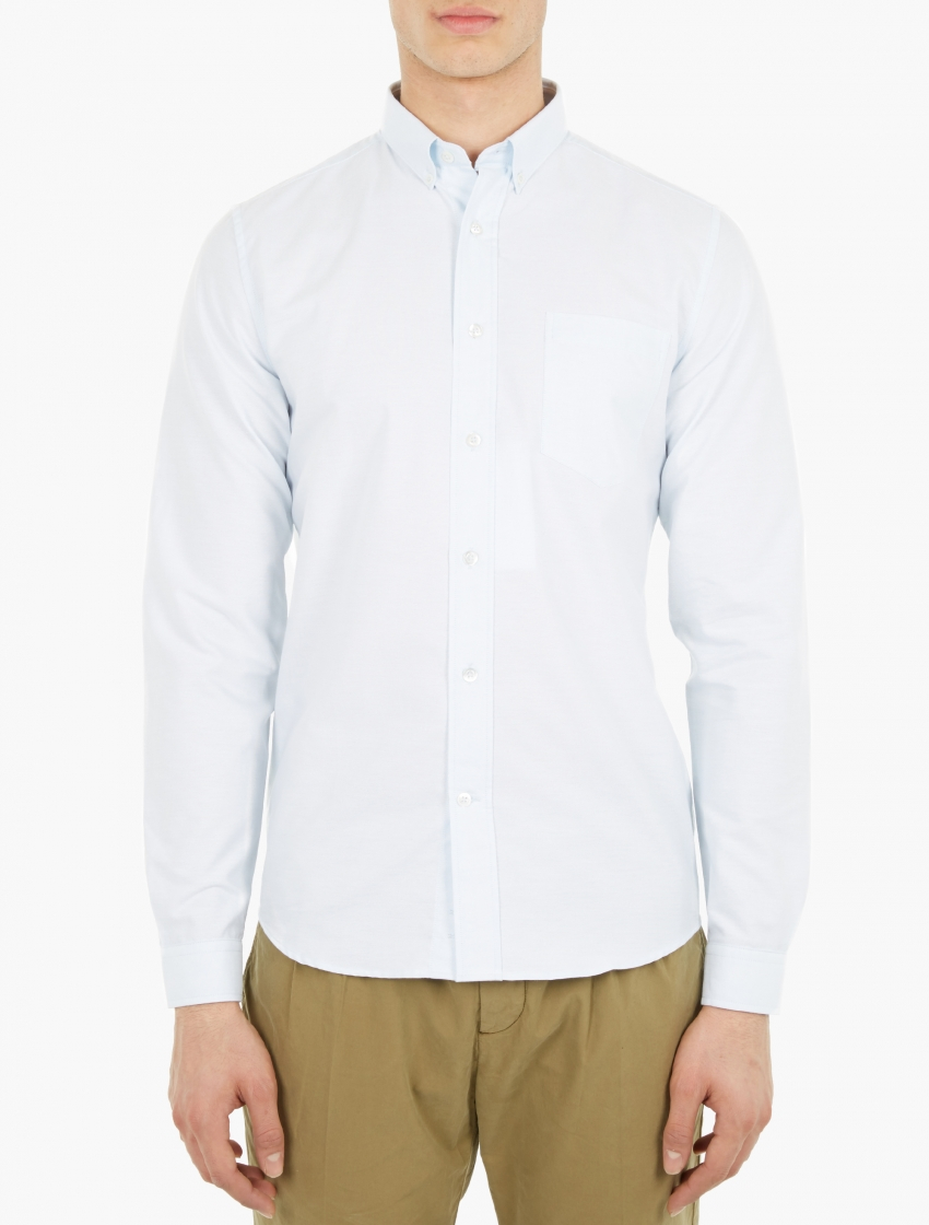 Ami Light Blue Cotton Oxford Shirt In White For Men Lyst