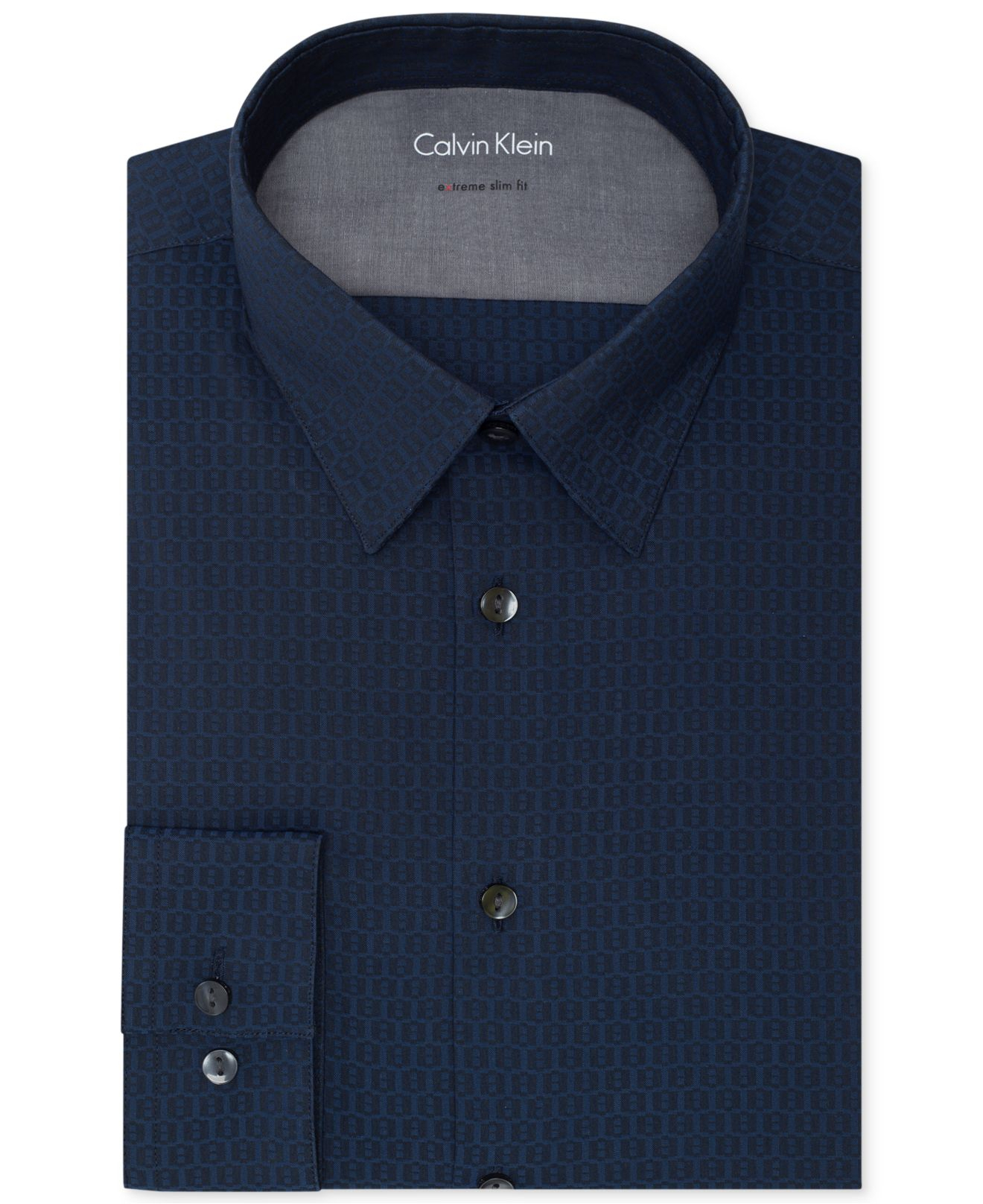 Calvin klein x extra slim fit deep blue print dress shirt for Calvin klein x fit dress shirt
