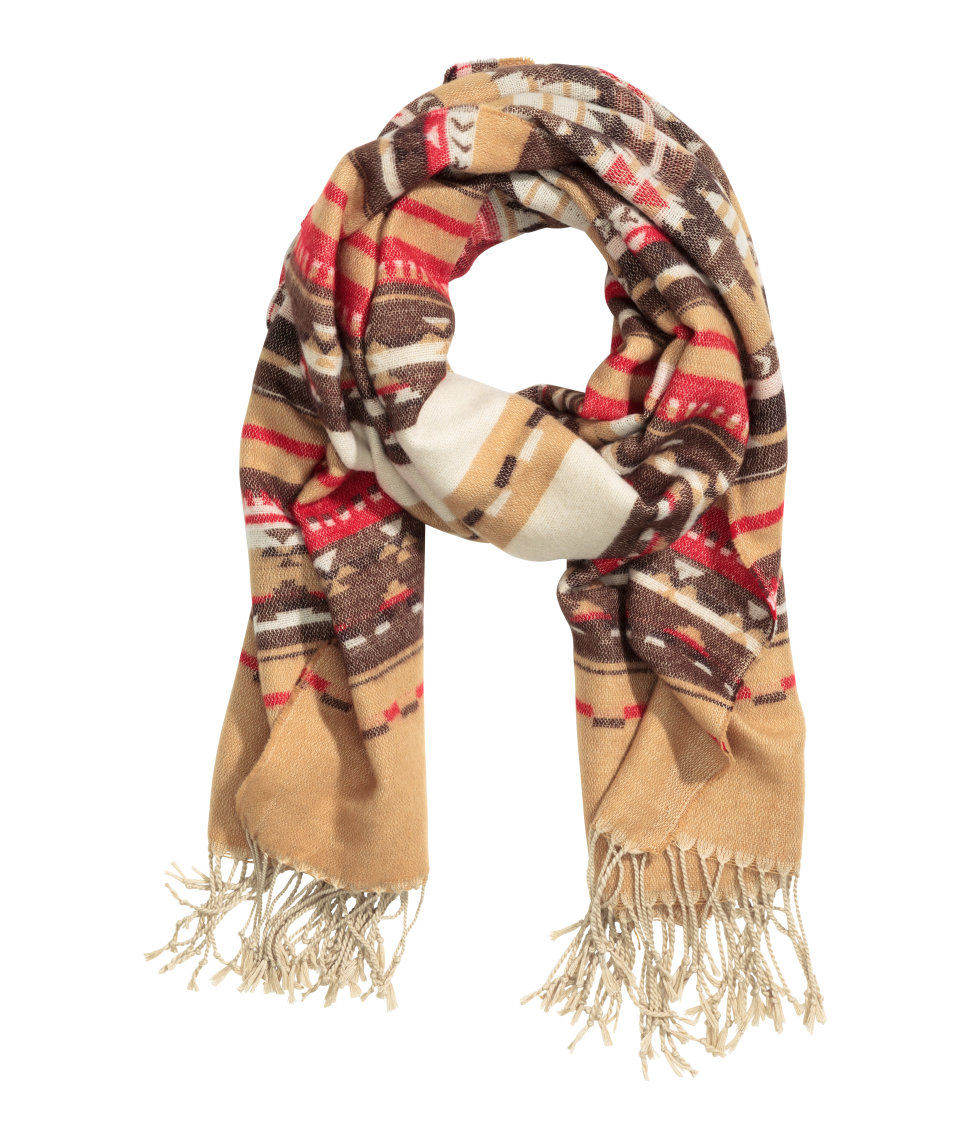 h m jacquard weave scarf in brown lyst