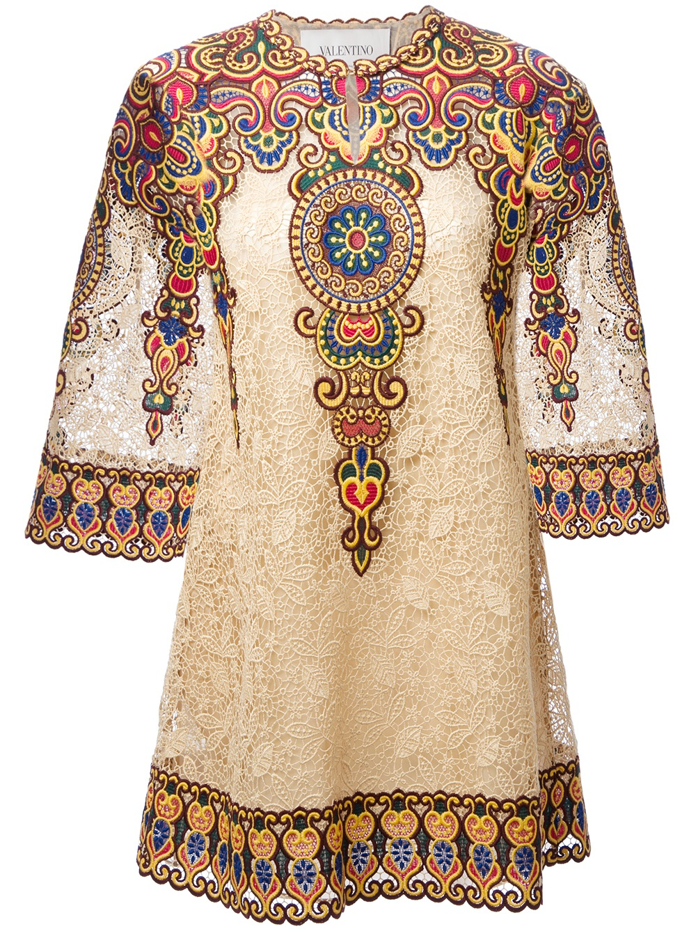 Valentino embroidered floral lace tunic dress in brown lyst