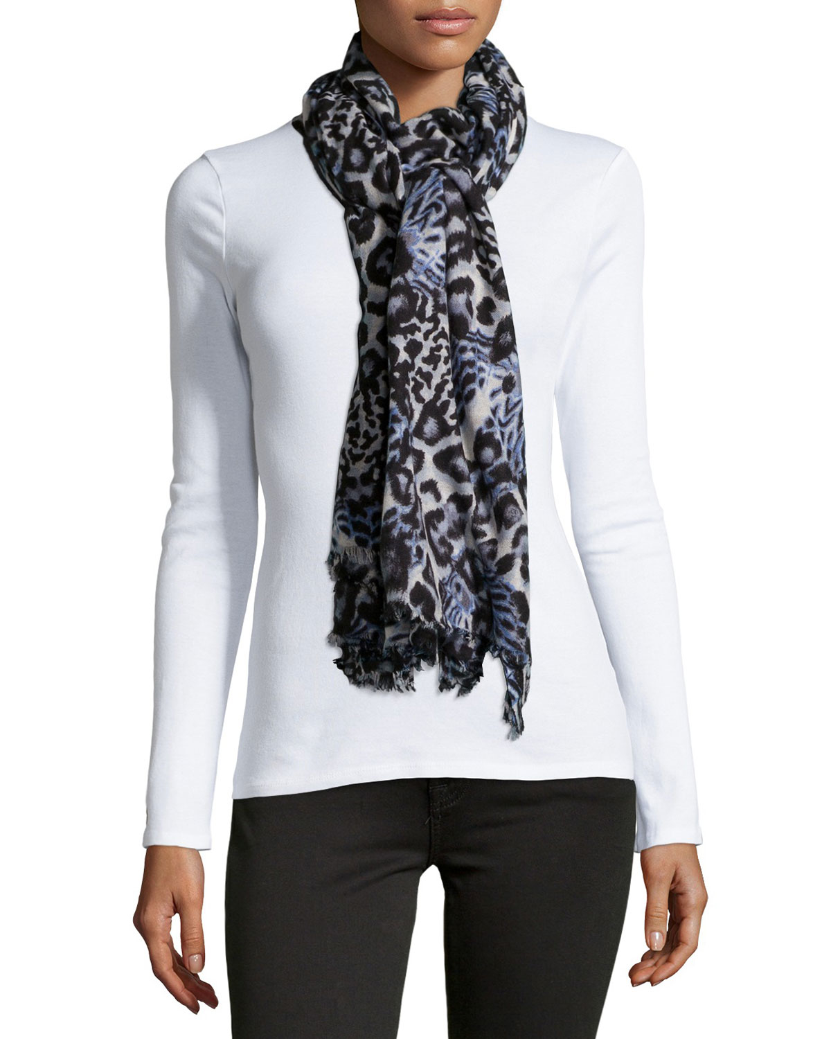 neiman mixed animal print fringe wool scarf in gray