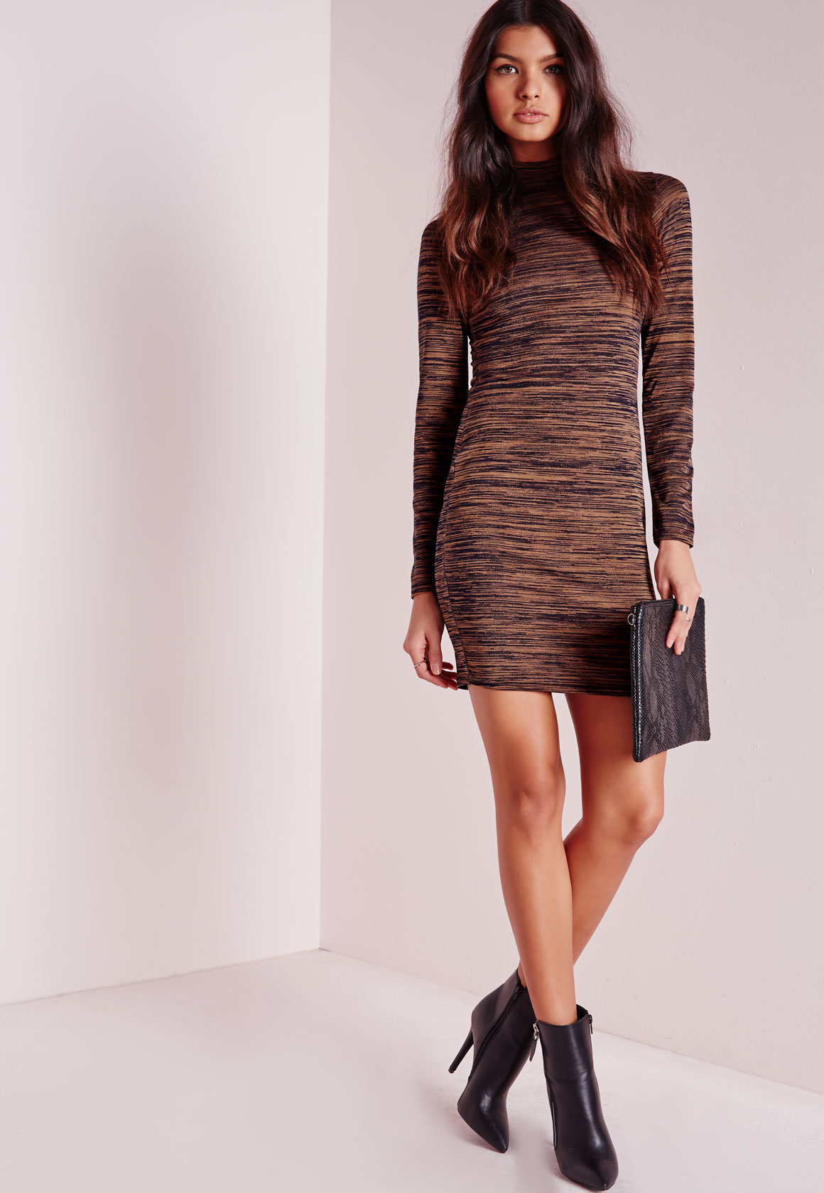 Missguided High Neck Long Sleeve Bodycon Dress Bronze Marl in Brown