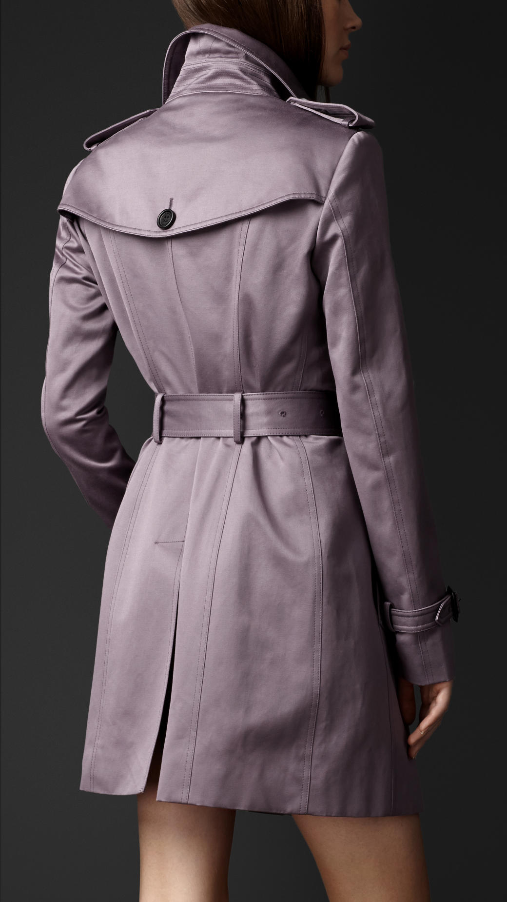 Lyst Burberry Short Cotton Sateen Trench Coat In Purple