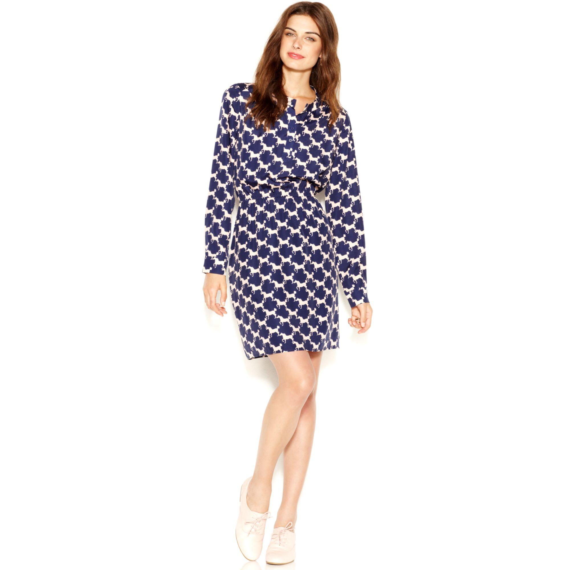 Maison Jules Banded Collar Horsetooth Print Shirt Dress In