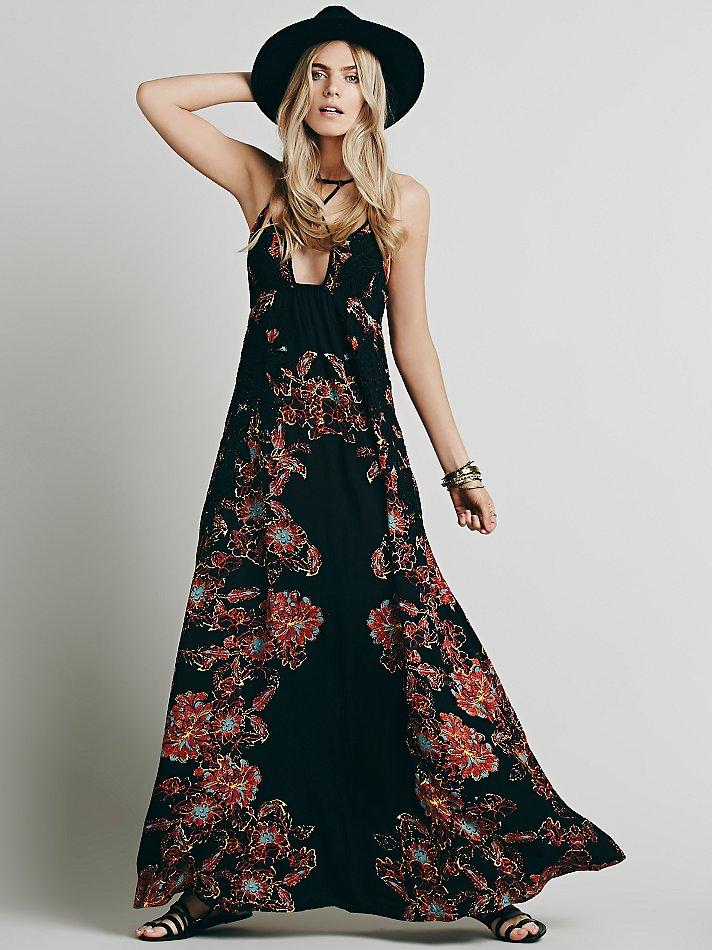 Free people Womens Cantik Maxi Dress in Black | Lyst