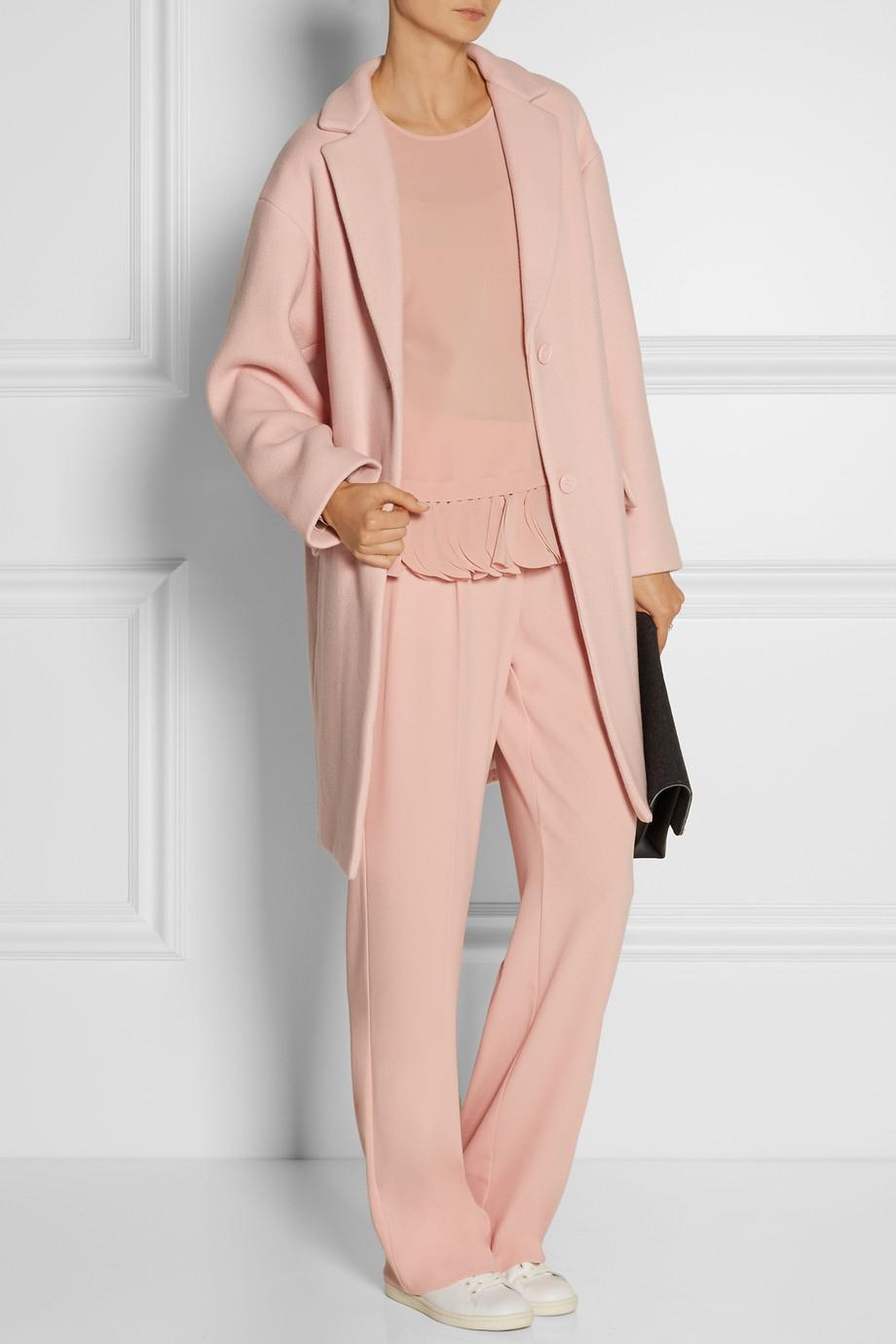Dkny Oversized Wool-Blend Coat in Pink | Lyst
