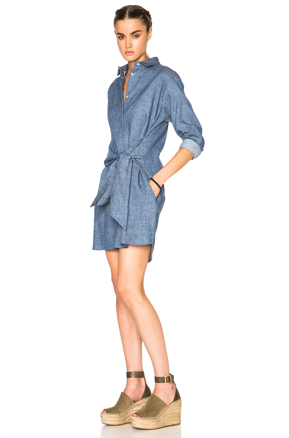 Msgm chambray shirt dress in blue lyst for Blue chambray shirt women s
