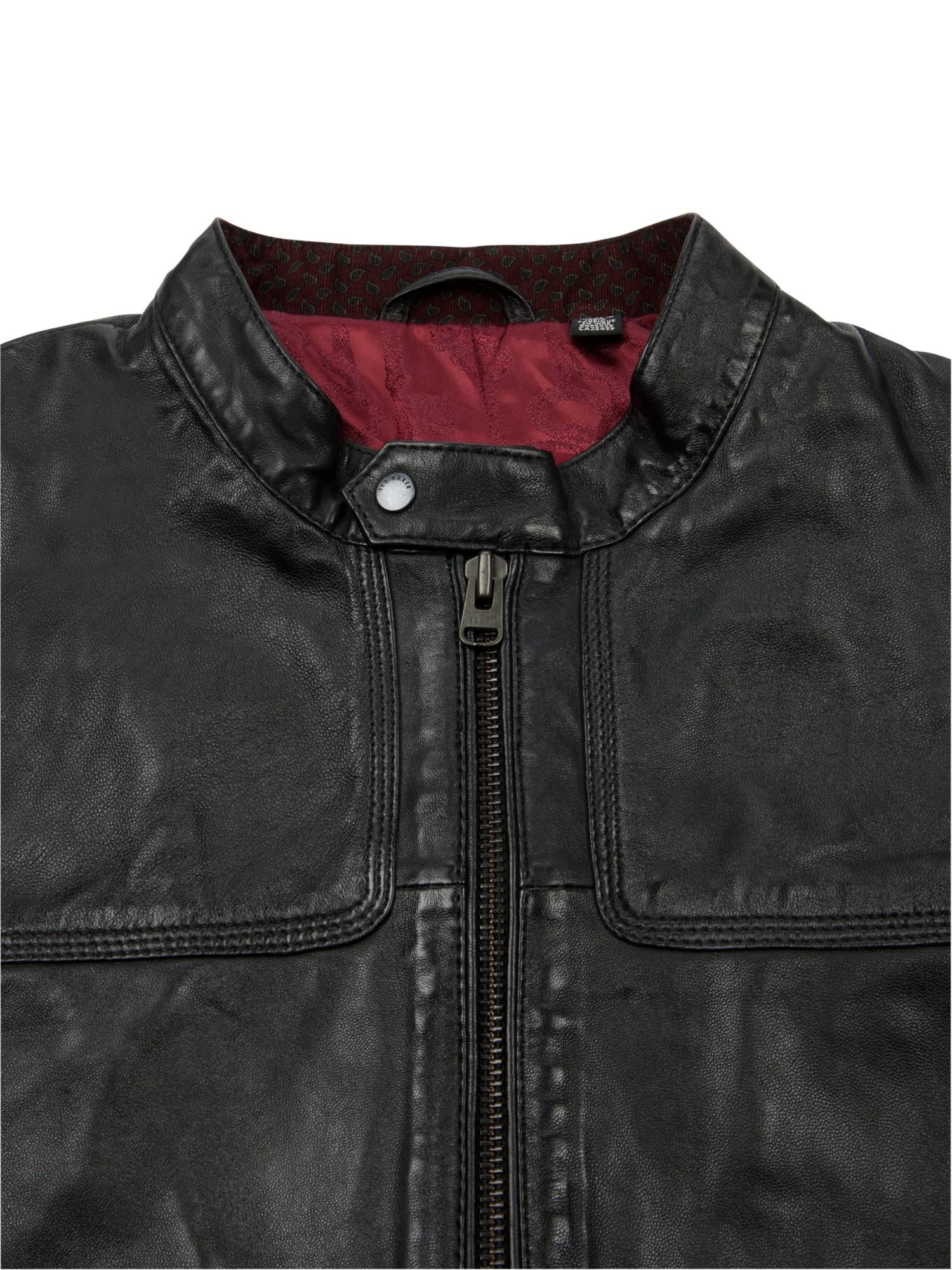 Ted Baker Birgin Leather Jacket in Black for Men