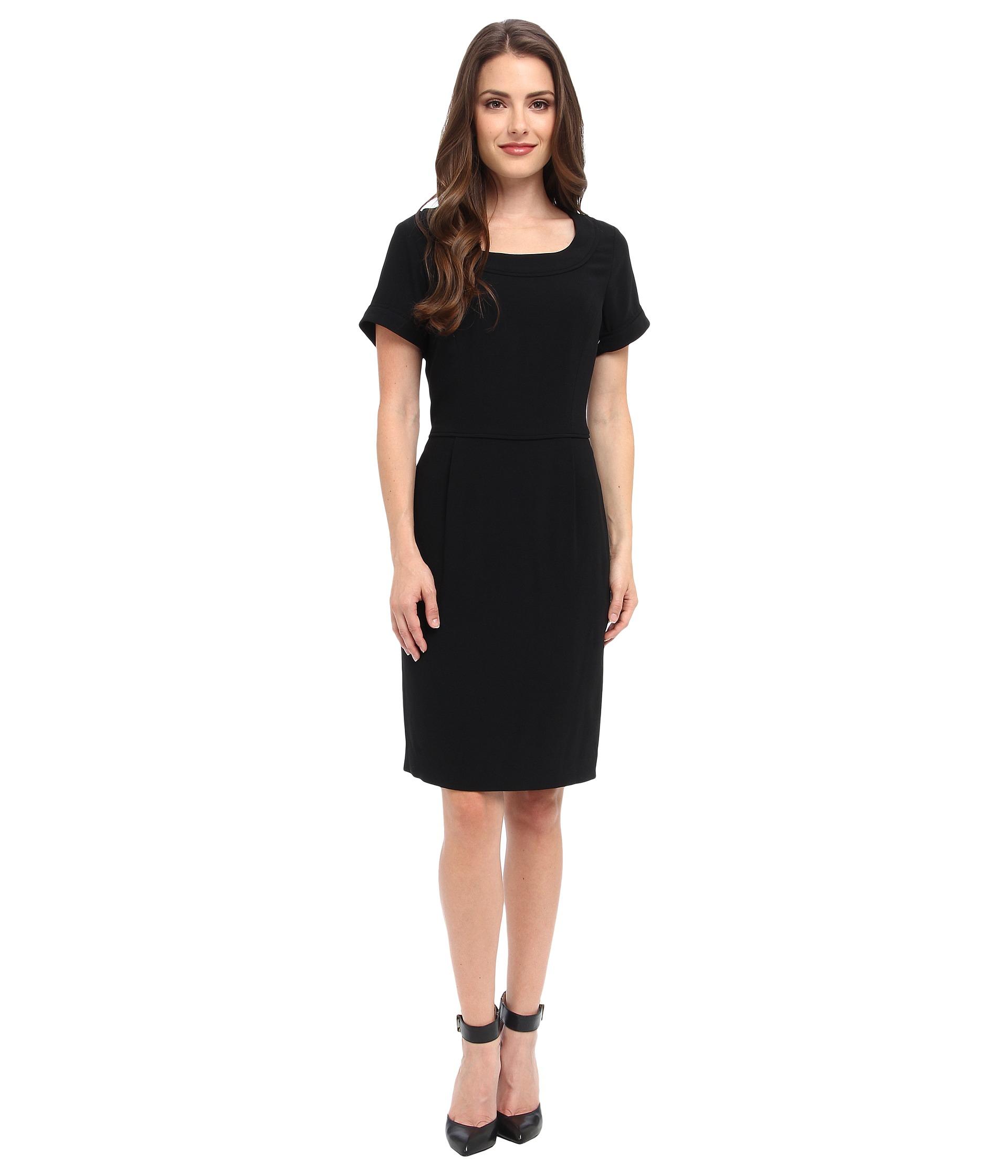Pendleton petite travel tricotine emma dress in black black travel tricotine lyst for Travel pants petite