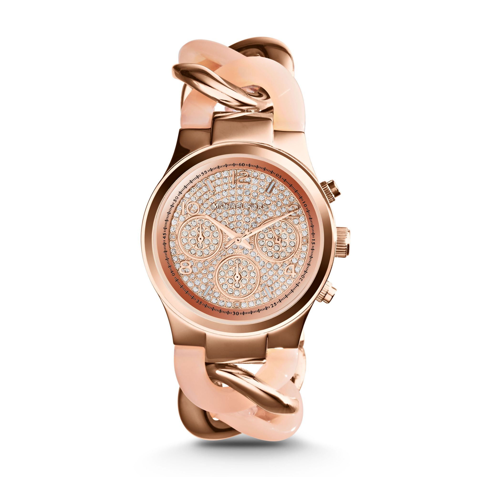 michael kors runway twist rose gold tone watch in pink lyst. Black Bedroom Furniture Sets. Home Design Ideas