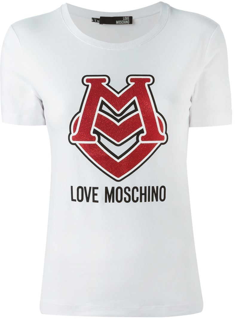 love moschino logo print t shirt in white lyst. Black Bedroom Furniture Sets. Home Design Ideas